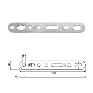Кронштейн стальной 152 x 18 x 3,00 mm