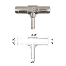 Тройник т-образный тосольный Ø16 x Ø8 x Ø16 алюминиевый