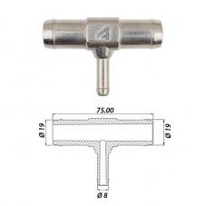 Тройник т-образный тосольный Ø19 x Ø8 x Ø19 алюминиевый