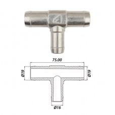 Тройник т-образный тосольный Ø19 x Ø16 x Ø19 алюминиевы