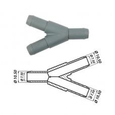 Тройник Y-образный газовый Ø10 x Ø10 x Ø10 пластик